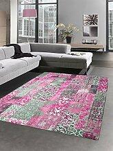 Moderner Teppich Designer Teppich Orientteppich Patchwork Kelim Teppich pink grau Größe 80x150 cm