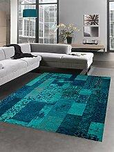 Moderner Teppich Designer Teppich Orientteppich Patchwork Kelim Teppich türkis blau Größe 120x170 cm