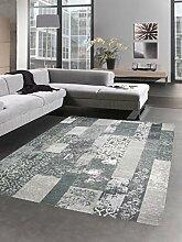 Moderner Teppich Designer Teppich Orientteppich Patchwork Kelim Teppich grau Größe 160x230 cm