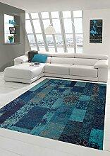 Moderner Teppich Designer Teppich Orientteppich Wohnzimmer Teppich mit Karo Muster in Türkis Blau Größe 135x200 cm