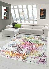 Moderner Teppich Designer Teppich Orientteppich Wohnzimmer Teppich mit Ornamente in Bunt Grün Gelb Türkis Rosa Rot Größe 200 x 290 cm