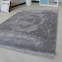 Moderner Teppich für Wohnzimmer mit Medaillon Muster in Hell Grau hochwertige und dichte Webung in versch. Größen mit Öko-Tex (80 x 300 cm)