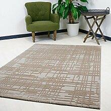Moderner Teppich in Beige mit 3D-Optik hochwertig gewebt Design in Kurzflor, verschiedene Größen erhältlich (80 x 300 cm)
