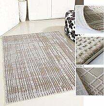 Moderner Teppich in Beige mit 3D-Optik hochwertig gewebt Design in Kurzflor, verschiedene Größen erhältlich (120 x 170 cm)