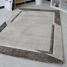 Moderner Teppich in Beige mit Bordüre für Wohnzimmer, Designer Teppich in verschiedenen Größen Trendig (160 x 230 cm)