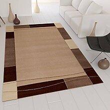 Moderner Teppich in Beige mit Handgeschnittenen Konturen auf Bordüre Muster – VIMODA; Maße: 120x170 cm