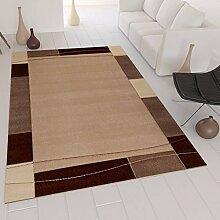 Moderner Teppich in Beige mit Handgeschnittenen Konturen auf Bordüre Muster – VIMODA; Maße: 80x300 cm