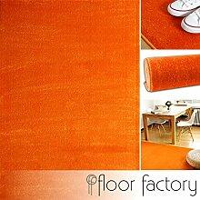 Moderner Teppich Kolibri orange 200x200cm - farbenfroher, pflegeleichter Teppich mit kurzem Flor