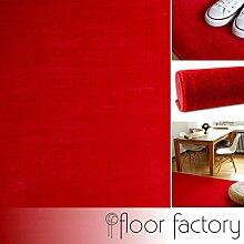 Moderner Teppich Kolibri rot 80x150cm - farbenfroher, pflegeleichter Teppich mit kurzem Flor