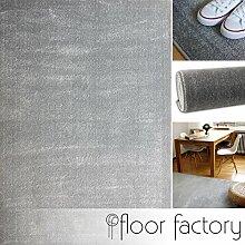 Moderner Teppich Kolibri silber/grau 140x200cm - farbenfroher, pflegeleichter Teppich mit kurzem Flor