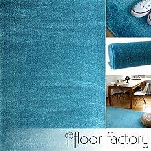 Moderner Teppich Kolibri türkis/blau 200x290cm - farbenfroher, pflegeleichter Teppich mit kurzem Flor