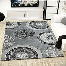 Moderner Teppich Kreis Muster Design mit Glitzereffekt Dicht Gewebt in Grau - VIMODA, Maße:80x150 cm