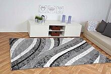 Moderner Teppich La Vida Wellen - Farbe: Grau | schadstoffgeprüft pflegeleicht antistatisch schmutzabweisend robust und strapazierfähig | u.a. für Wohnzimmer Schlafzimmer und Kinderzimmer geeignet, Farbe:Grau, Größe:120 x 170 cm