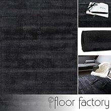Moderner Teppich Lounge anthrazit grau 120x170cm - edler Designer Teppich im Vintage Look