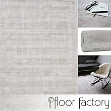 Moderner Teppich Lounge beige creme 140x200cm - edler Designer Teppich im Vintage Look