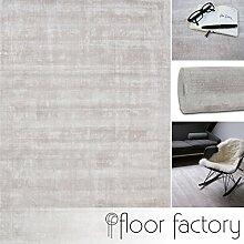 Moderner Teppich Lounge beige creme 200x200cm - edler Designer Teppich im Vintage Look