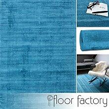 Moderner Teppich Lounge blau türkis 140x200cm - edler Designer Teppich im Vintage Look