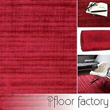 Moderner Teppich Lounge rot 80x150cm - edler Designer Teppich im Vintage Look