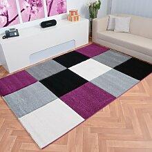 Moderner Teppich Mailand Karomuster - Farbe wählbar | schadstoffgeprüft pflegeleicht antistatisch schmutzresistent robust und strapazierfähig | u.a. für Wohnzimmer Schlafzimmer und Flur geeignet, Farbe:Lila, Größe:160 x 230 cm