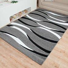 Moderner Teppich Mailand Linien - Farbe wählbar | schadstoffgeprüft pflegeleicht antistatisch schmutzresistent robust und strapazierfähig | u.a. für Wohnzimmer Schlafzimmer und Kinderzimmer geeignet, Farbe:Grau, Größe:80 x 300 cm
