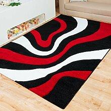 Moderner Teppich Mailand Wellen - Farbe wählbar | schadstoffgeprüft pflegeleicht antistatisch schmutzresistent robust und strapazierfähig | u.a. für Wohnzimmer Schlafzimmer und Kinderzimmer geeignet, Farbe:Rot, Größe:160 x 230 cm