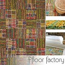 Moderner Teppich Mandalay grün 130x190 cm - aktueller Flachgewebe Teppich im Patchwork Stil