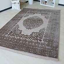 Moderner Teppich mit Medaillon Muster für Wohnzimmer Kurzflor in Grau, Beige und Rosa in versch. Größen. Vintage Teppich mit Fasern. (80 x 150 cm, Beige)