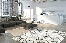 Moderner Teppich My Stockholm 341 von Obsession Landhaus Teppich, scandinavian design, in aktueller Fliesenoptik, in den aktuellen wohnfarbe, anthrazit, senf, curry, taupe, grau, braun, florentiner, flachgewebe, küchenteppich, flurteppich, esszimmerteppich (160 x 230 cm, STO 341 taupe braun grau)