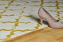 Moderner Teppich My Stockholm 341 von Obsession Landhaus Teppich, scandinavian design, in aktueller Fliesenoptik, in den aktuellen wohnfarbe, anthrazit, senf, curry, taupe, grau, braun, florentiner, flachgewebe, küchenteppich, flurteppich, esszimmerteppich (60 x 110 cm, 341 STO 341 mustard senf honig curry)