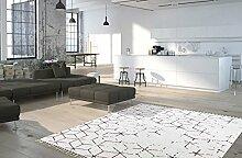 Moderner Teppich My Stockholm 342 von Obsession Landhaus Teppich, scandinavian design, in aktueller Fliesenoptik, in den aktuellen Wohnfarbe, smaragd grün, grau, fuchsia rot, flachgewebe, küchenteppich, flurteppich, esszimmerteppich (200 x 290 cm, STO 342 fuchsia)