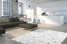 Moderner Teppich My Stockholm 342 von Obsession Landhaus Teppich, scandinavian design, in aktueller Fliesenoptik, in den aktuellen Wohnfarbe, smaragd grün, grau, fuchsia rot, flachgewebe, küchenteppich, flurteppich, esszimmerteppich (120 x 170 cm, STO 342 grau)