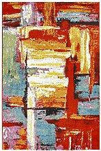 Moderner Teppich my Waikiki WAI 381 multi, abstrakt, rot, grün, blau,gelb, mehrfarbig, kurzflor, Flachgewebe, dünner Teppich (80 x 150 cm)
