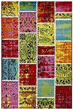 Moderner Teppich my Waikiki WAI 383 multi, Patchwork, Vintage, rot, grün, blau,gelb, mehrfarbig, kurzflor, Flachgewebe, dünner Teppich (160 x 230 cm)