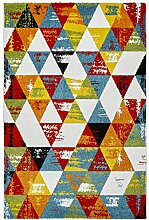Moderner Teppich my Waikiki WAI 386 387 388 multi, scandinavisch Landhaus, rot, grün, blau,gelb, mehrfarbig, kurzflor, Flachgewebe, dünner Teppich (200 x 290 cm, WAI 387 Multi)