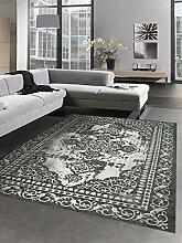 Moderner Teppich Orientteppich Kelim Kilim anthrazit grau silber Größe 160x230 cm