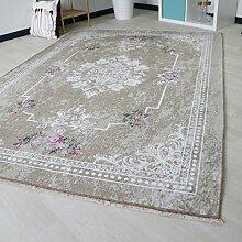 Moderner Teppich rutschfest waschbar mit Blumenmuster und Medaillion schick für Bad Küche und Flur Braun Beige Rosa naturfarbe Kelim Oberfläche (80cm x 150cm)
