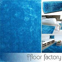 Moderner Teppich Seasons blau 120x170 cm - flauschig weicher Hochflor Teppich in aktuellen Trendfarben