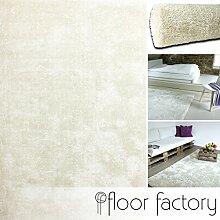 Moderner Teppich Seasons cremeweiß 120x170 cm - flauschig weicher Hochflor Teppich in aktuellen Trendfarben