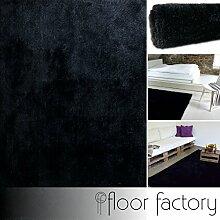 Moderner Teppich Seasons schwarz 200x200 cm - flauschig weicher Hochflor Teppich in aktuellen Trendfarben