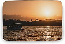 Moderner Teppich-Sonnenuntergang mit Boot