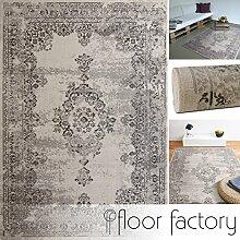Moderner Teppich Vintage beige 140x200 cm - günstiger Velours Teppich im angesagten Shabby Chic