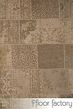 Moderner Teppich Vintage beige 155x230 cm - aktueller Flachgewebe Teppich im Patchwork Stil