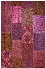 Moderner Teppich Vintage my Milano 571 grau, rot, gelb, grün, pink, rosa shabby look,used look , Flachgewebe, Patchwork (57 x110 cm, MIL 571 fuchsia, pink, rose)