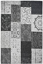 Moderner Teppich Vintage my Milano 571 grau, rot, gelb, grün, pink, rosa shabby look,used look , Flachgewebe, Patchwork (57 x110 cm, MIL 571 silber, grau, schwarz, anthrazit)