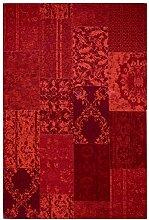 Moderner Teppich Vintage my Milano 571 grau, rot, gelb, grün, pink, rosa shabby look,used look , Flachgewebe, Patchwork (120 x 170 cm, MIL 571 rot)