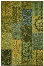 Moderner Teppich Vintage my Milano 571 grau, rot, gelb, grün, pink, rosa shabby look,used look , Flachgewebe, Patchwork (57 x110 cm, MIL 571 grün gelb)
