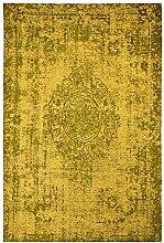 Moderner Teppich Vintage my Milano 572 grau, rot, gelb, shabby look,used look , flachgewebe (77 x 150 cm, MIL 872 ginger gelb gold)