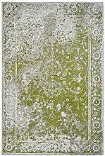 Moderner Teppich Vintage my Milano 573 grau, rot, gelb, shabby look,used look , flachgewebe (120 x 170 cm, MIL 573 grün)