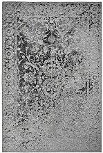 Moderner Teppich Vintage my Milano 573 grau, rot, gelb, shabby look,used look , flachgewebe (120 x 170 cm, MIL 573 silber grau)