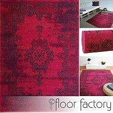 Moderner Teppich Vintage pink 160x230 cm - günstiger Velours Teppich im angesagten Shabby Chic